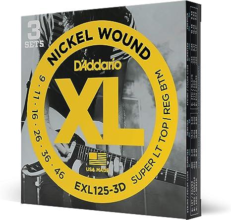 DAddario EXL125-3D - Juego de cuerdas para guitarra eléctrica de ...