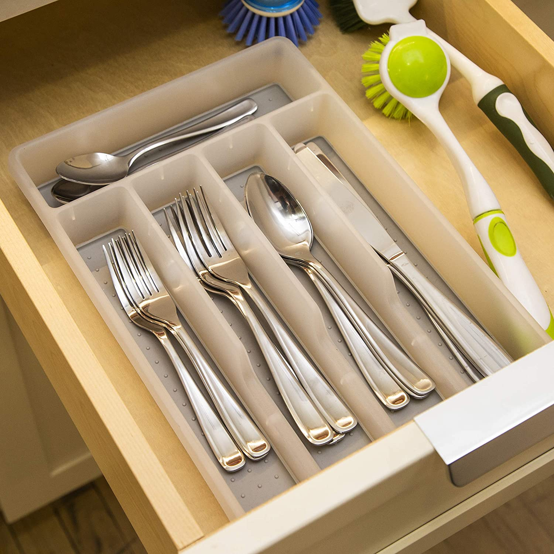 Utensil Organizer With Soft Grip Lining Small Bino 5 Slot Silverware Cutlery Tray Organizer White Cutlery Trays Home Kitchen Metododasvendasonline Com Br