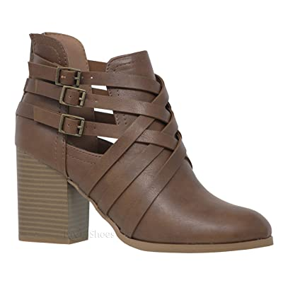 Soda Women's Othello-S Buckle Strappy High Block Heel Ankle Booties | Ankle & Bootie