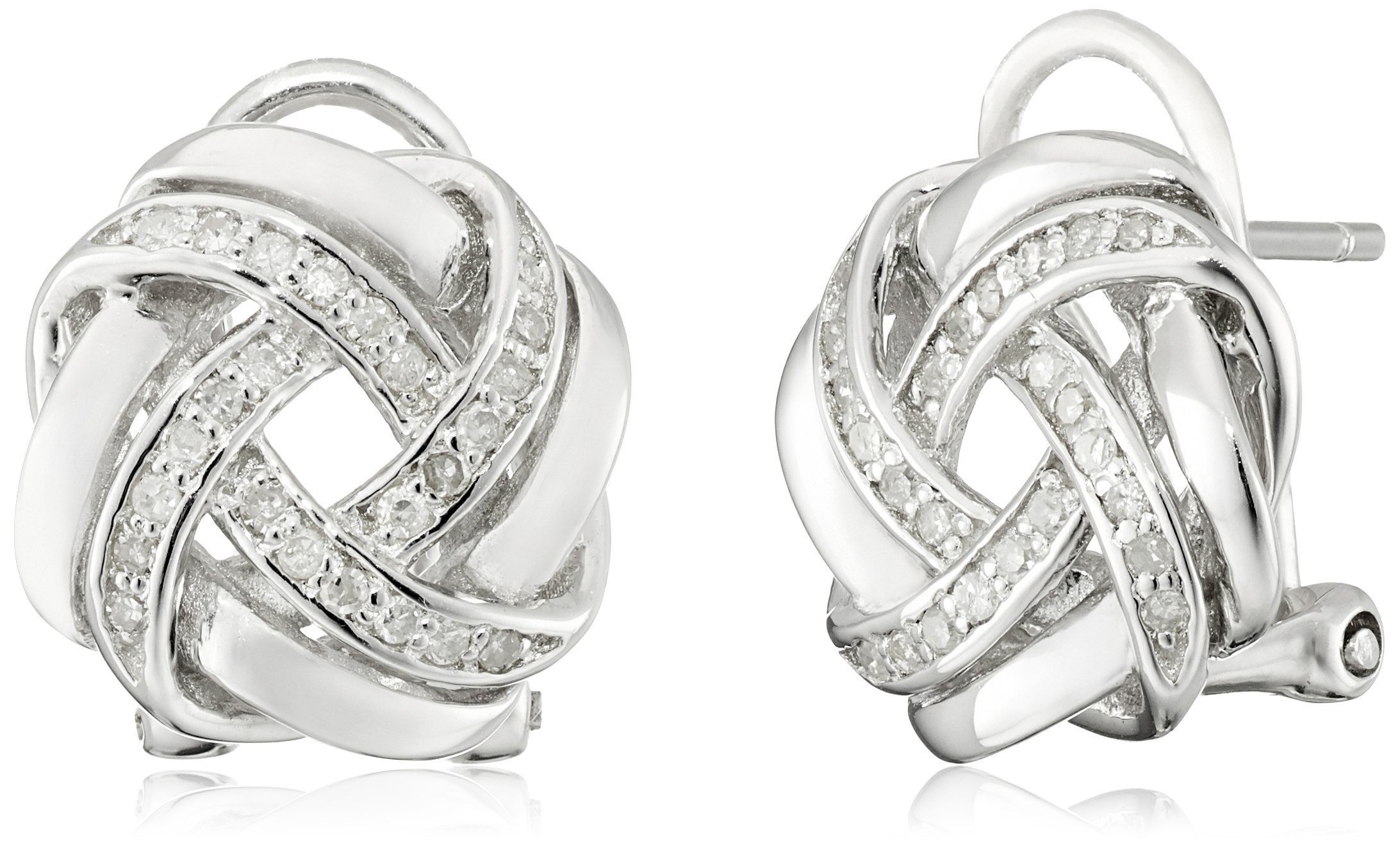 Sterling Silver Love Knot with Omega Back Earrings (1/5 cttw, J-K Color, I2-I3 Clarity)