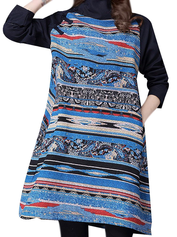 P Ammy Fashion Women's Retro High Neck Aztec Fleecy Linning Thicken Jersey Jumper Dress