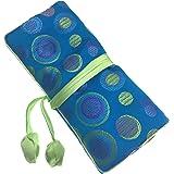 Gracallet Soft Silk Embroidery Brocade Polka Dot Print Fabric Jewelry Roll Travel Organizer
