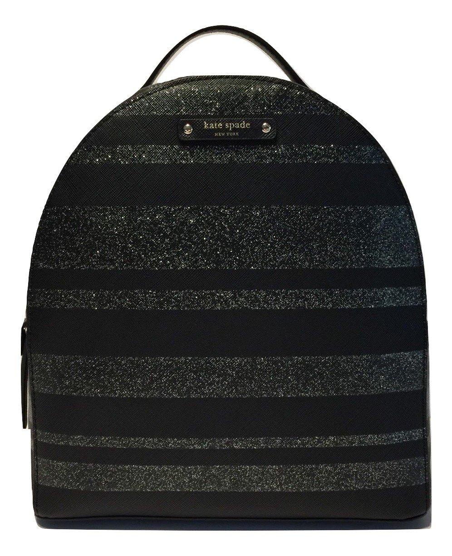 Kate Spade Haven Lane Sammi Backpack Handbag WKRU4791 Black Glitter Stripes