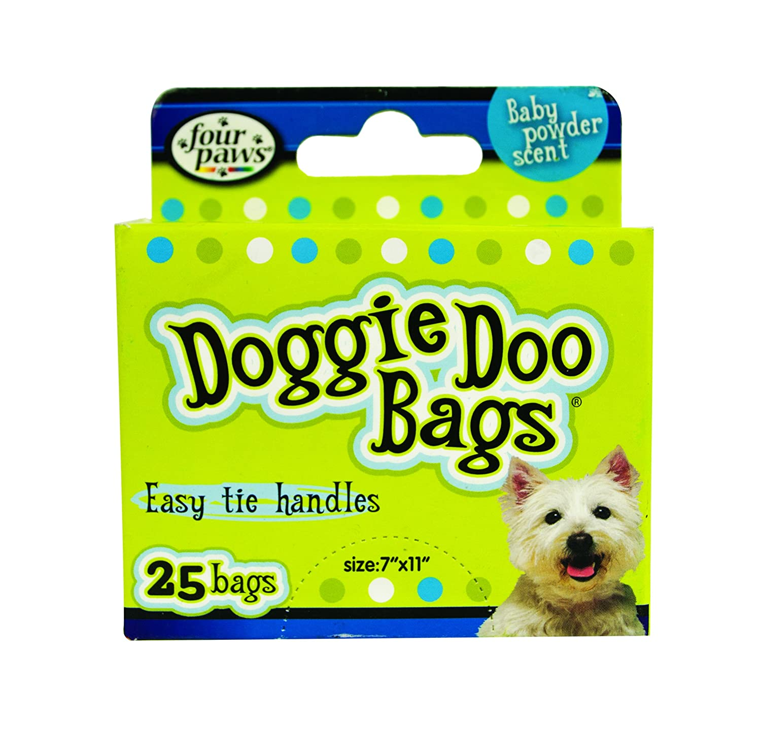 Four Paws Doggie Doo Bags 25 count   Baby Powder Scent   Easy Tie Handles