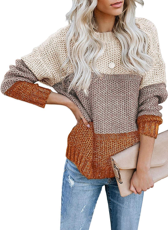 Women Sweater Dresses Long Sleeve Knitted Dress Knit Sundress Stripe Patchwor BF
