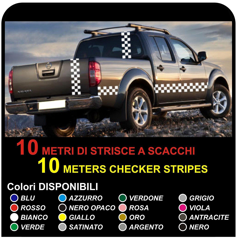 Amazon fr bande de 10 mètres van pick up navara stickers décoration graphique stripes 4x4 bande autocollants côté déchecs stickers bandes échiquier