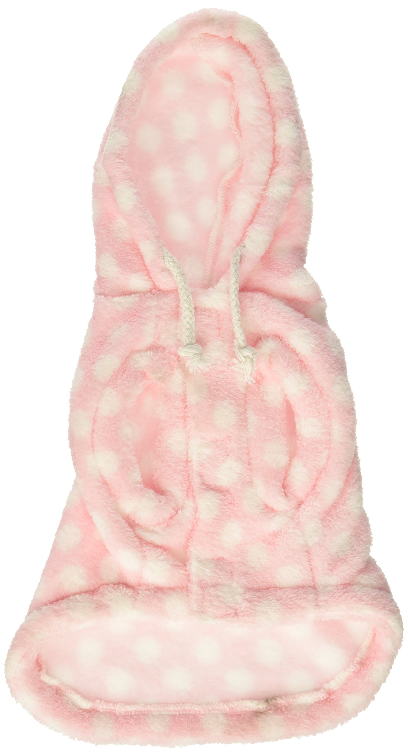 Dog & Cat Pink and White Polka Dot Fleece Hoodie [FOR SMALL DOGS], Small