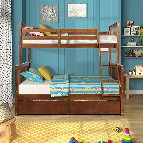 Knocbel Solid Wood Bunk Bed Twin-Over-Full