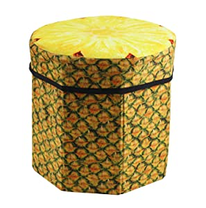 Okayji 3D Folding Storage Organizer Pineapple Fruit Stool for Children, Yellow