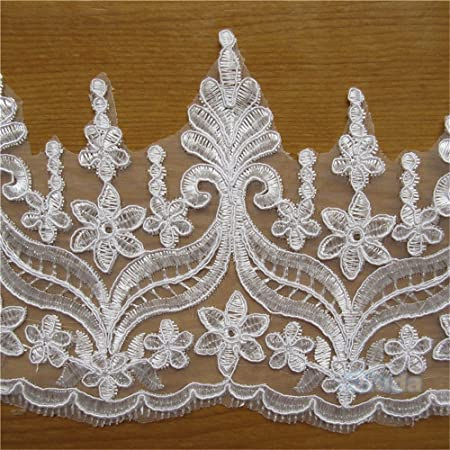 2 Yards White Lace Trim Edge Fringe Tassel for Wedding Dress Decoration 15cm