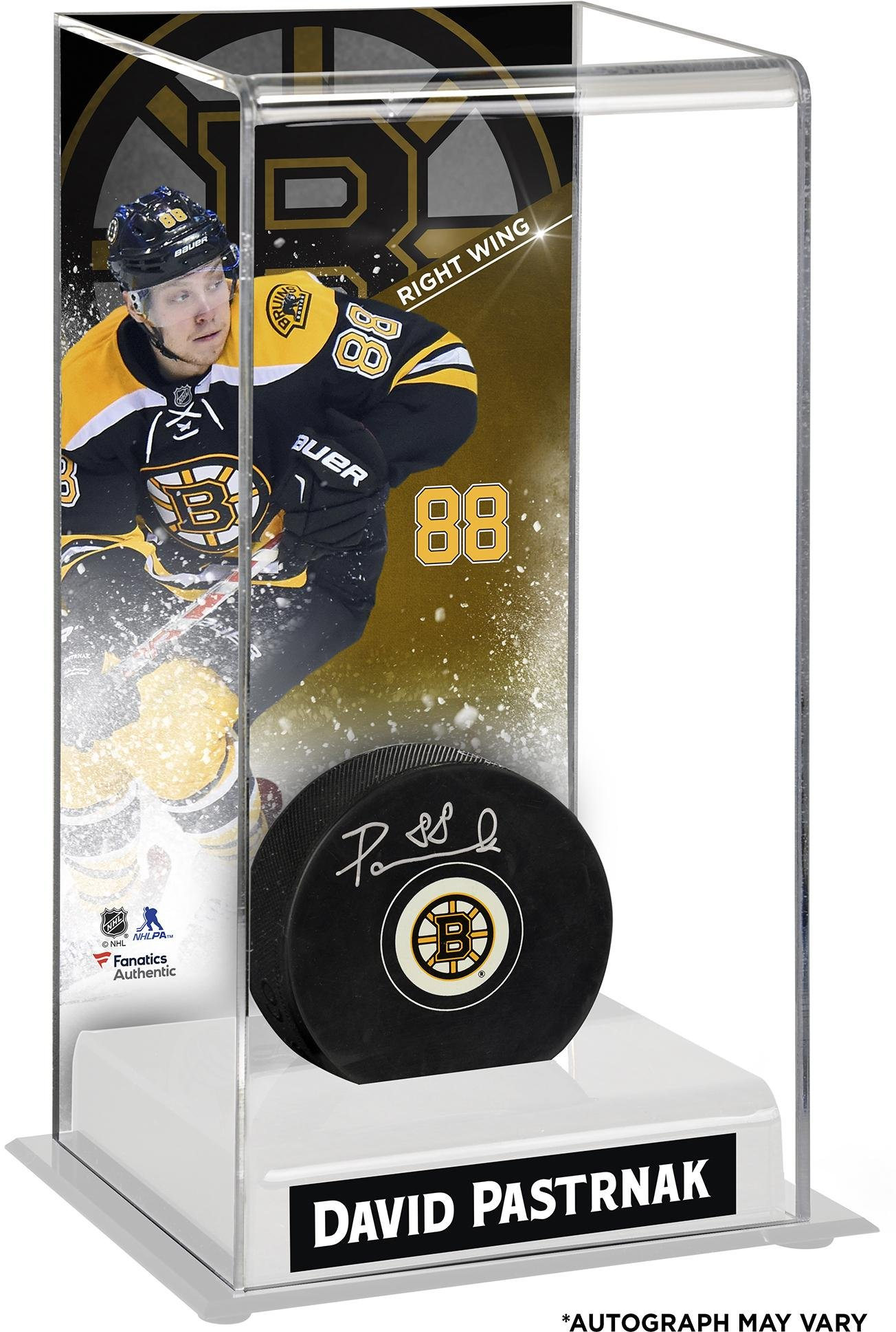 David Pastrnak Boston Bruins Autographed Puck with Deluxe Tall Hockey Puck Case Fanatics Authentic Certified