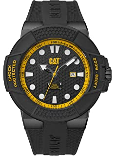 CAT Shockmaster Mens Watch Black & Yellow Dial Black Silicone Strap SF16121117