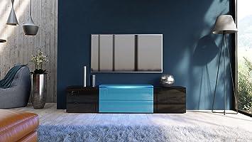 Meuble Tv Noir Et Bleu Pétrole Avec Led Rvb 167 Cm Amazon