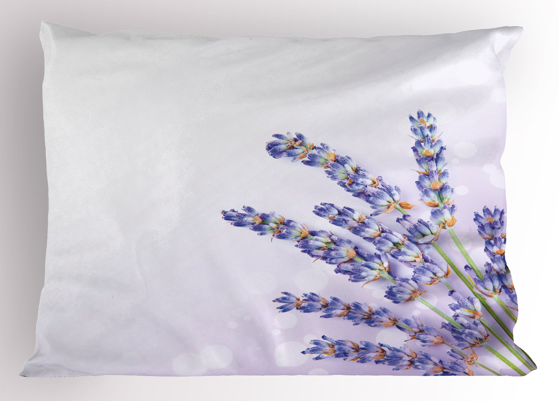 Ambesonne Lavender Pillow Sham, Little Posy of Medicinal Herb Fresh Plant of Purple Flower Spa Aromatheraphy Organic, Decorative Standard King Size Printed Pillowcase, 36 X 20 inches, Lavander