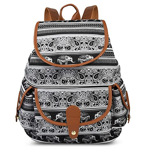 Vbiger Canvas Backpack Casual School Bag Travel Daypack for Girl (Black 1)