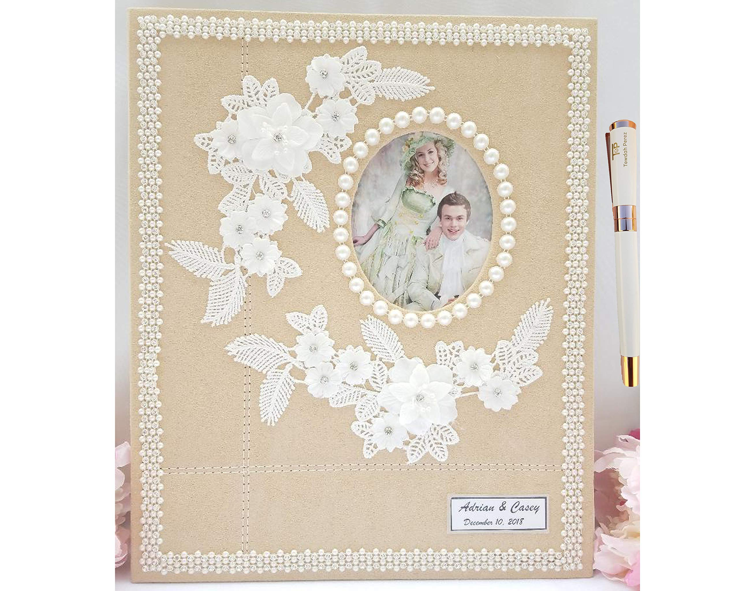 Towdah Perez Pearls Flower lace self Stick Wedding Album 40 Pages. Hand-Decorated Fabric Cover Album for 4x6, 5x7, 8x10, 8x12 Photos with Gift Box, Luxury White/Gold Pen. Customizable, personalizable