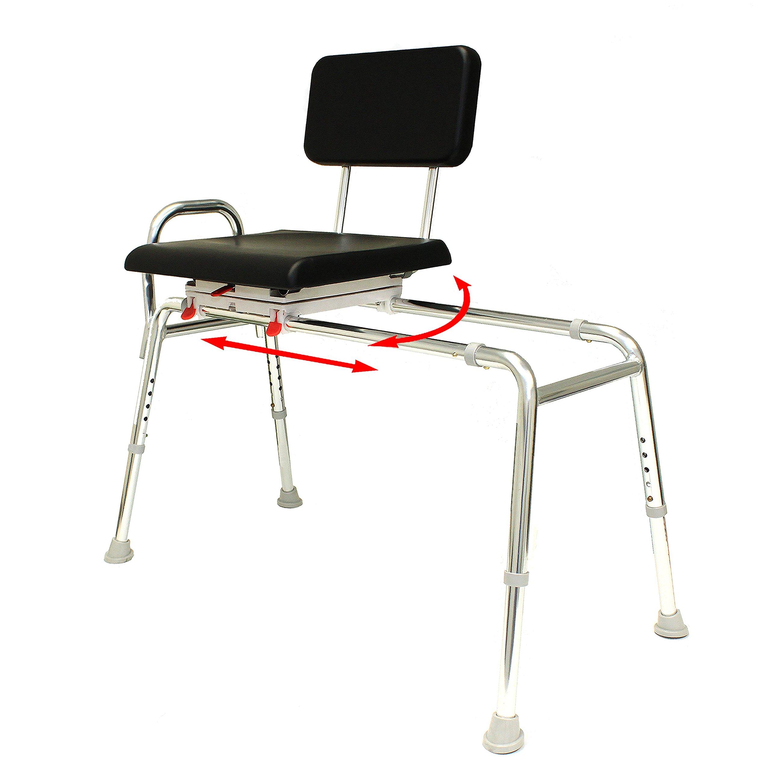Padded Swivel Sliding Bath Transfer Bench (77691) - X-Long (Base Length: 48'' - 49'') - Heavy-Duty Shower Bathtub Chair - Eagle Health Supplies