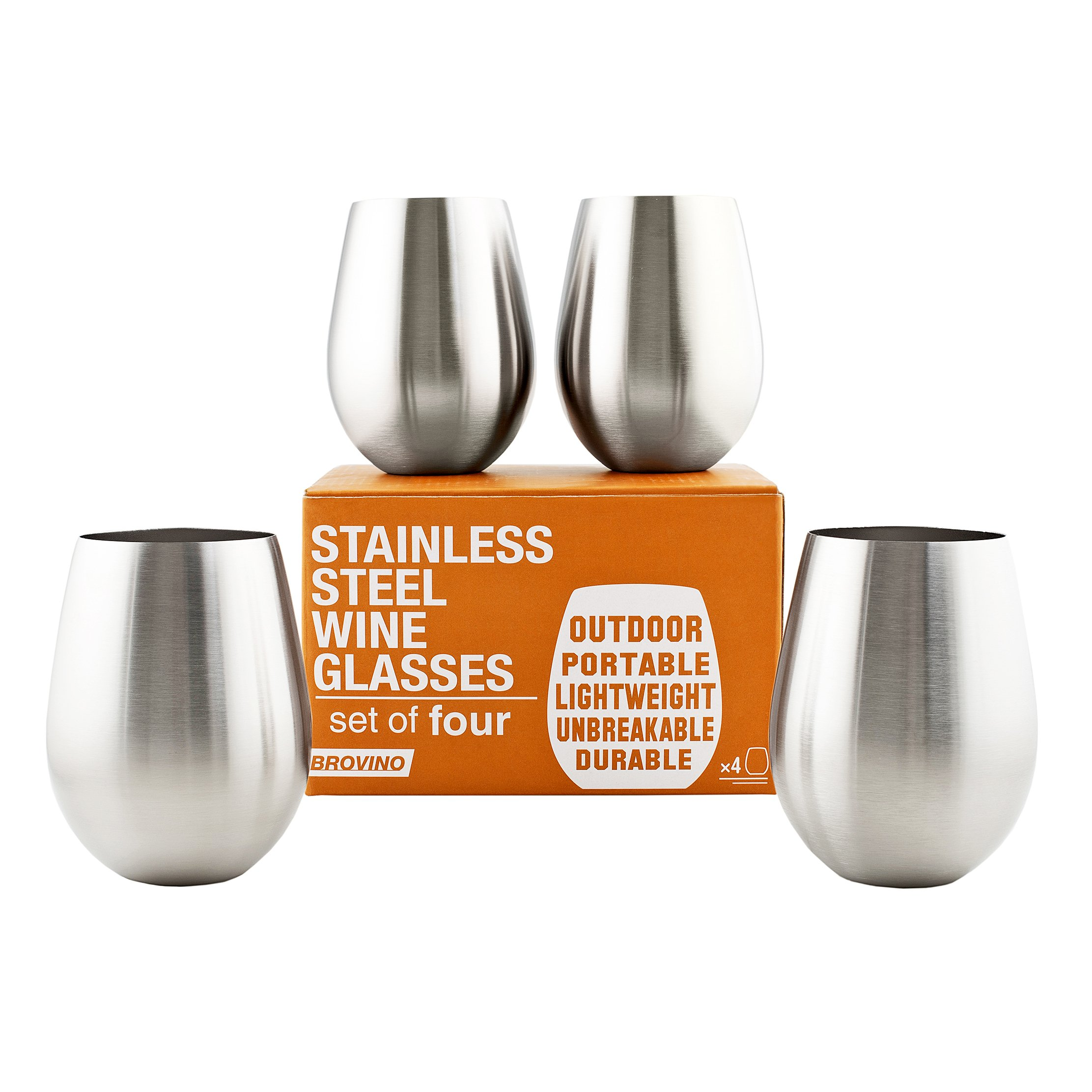 Stainless Steel Wine Glasses - Set of 4 Unbreakable Wine Tumblers Perfect For: Outdoor Travel, Camping, Hiking, Picnic Wine Cups by Brovino