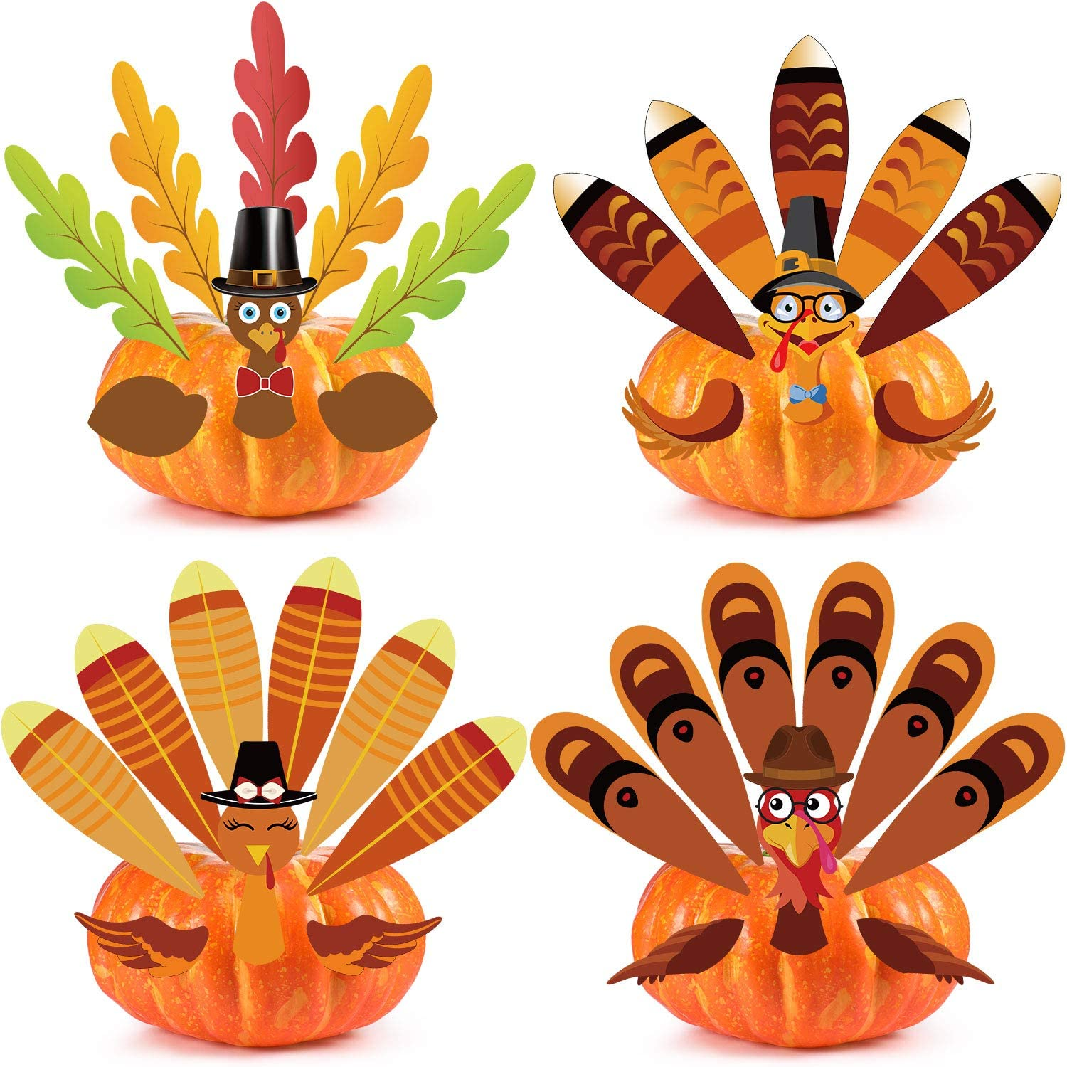Outus Thanksgiving Pumpkin Turkey Making Kit for Thanks and Gives Party Fall Turkey Craft Kit Thanksgiving Party Make a Turkey Games Thanksgiving Party Decorations