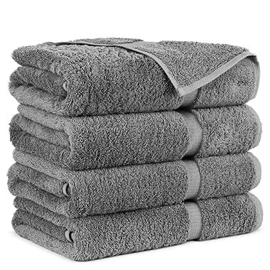 Hotel Quality Turkish Cotton 4-Piece Bath Towels, Gray