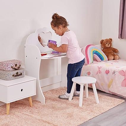 Oferta amazon: Liberty House Toys–Juego de tocador y Taburete de Madera, de Madera, Color Blanco