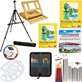 """US Art Supply 69-Piece Watercolor Paint Set with Aluminum Easel, Wood Table Easel, 24 Watercolor Colors, 9""""x12"""" Watercolor Paper Pad, 11""""x14"""" Watercolor Paper Pad, 34 Brushes, 10-Well Pallete"""