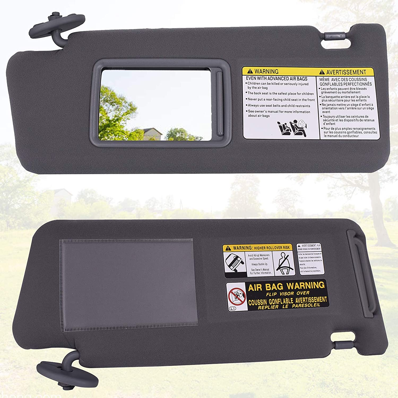CULMKARI Left Driver Side Sun Visor for Toyota Tacoma 2005-2012 Gray Without Light Replaces 74320-04181-B1 74320-04180-B1
