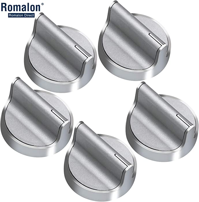 Stainless Steel Stove Control Knob W10594481 CAV1 Burner knob Upgrade All Metal with Interface 5Pack Cover Knob Compatible with Whirlpool Stove/Range-Replace WPW10594481, W10594481