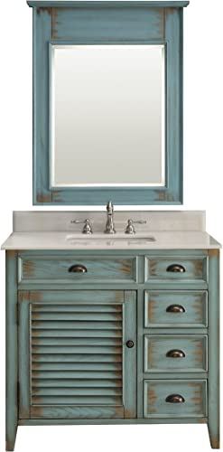Abbeville Rustic Distressed Blue Bathroom Sink Vanity Mirror Set CF-78887BU-MIR