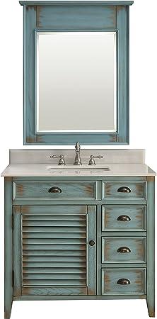 Abbeville Rustic Distressed Blue Bathroom Sink Vanity Mirror Set Cf 78887bu Mir Amazon Com