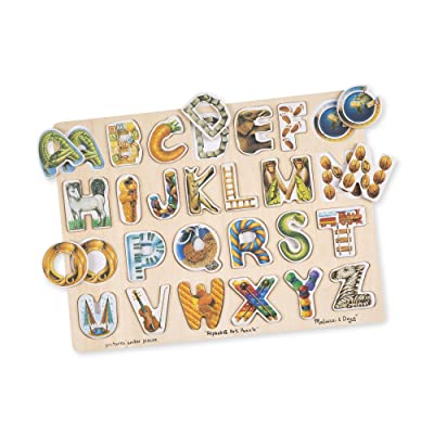 Melissa & Doug Alphabet Art Wooden Puzzle (26 pcs): Melissa & Doug: Toys & Games