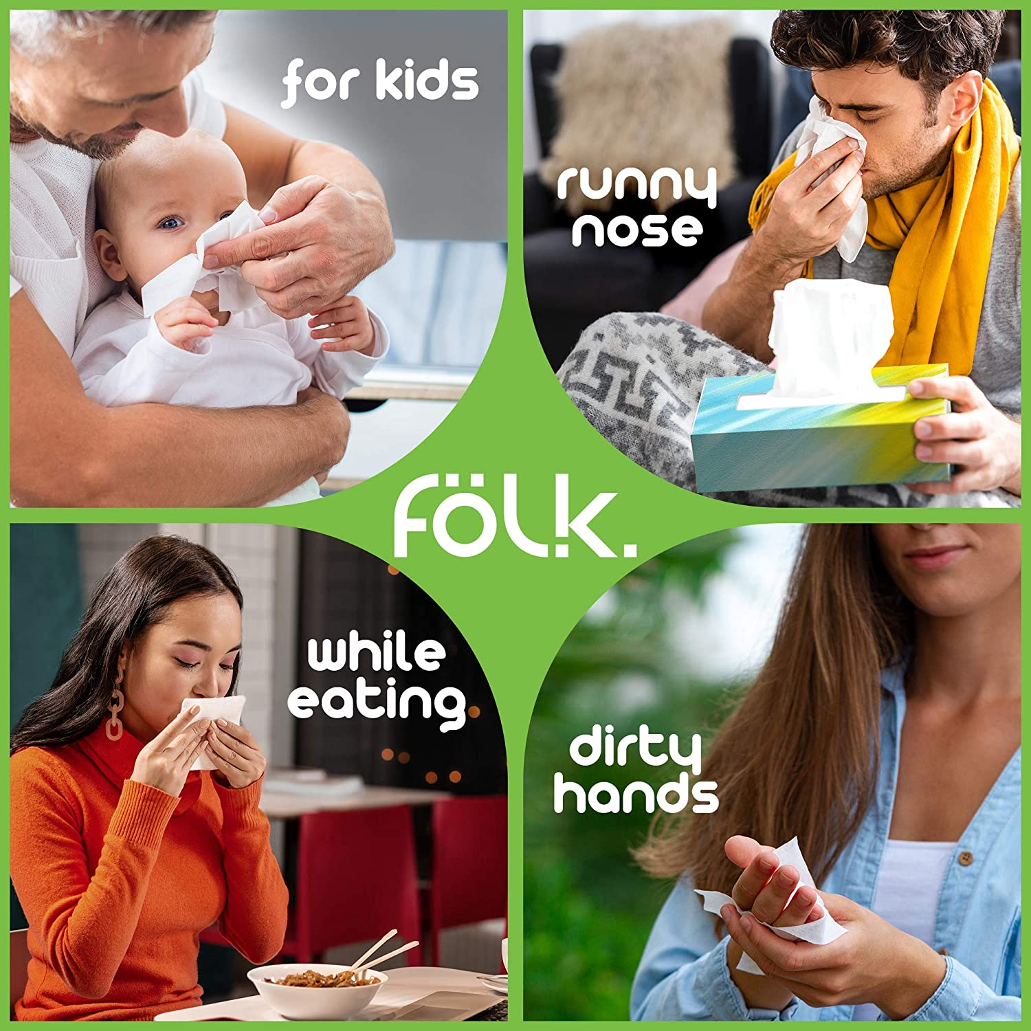 100/% Natural Cellulose Office White Design FOLK Facial Tissue Paper Bulk Ultra Soft and Absorbent 1200-2 Plies per Flat Box 12 cartons x 100 Sheets Perfect for Family Car Home Hypoallergenic
