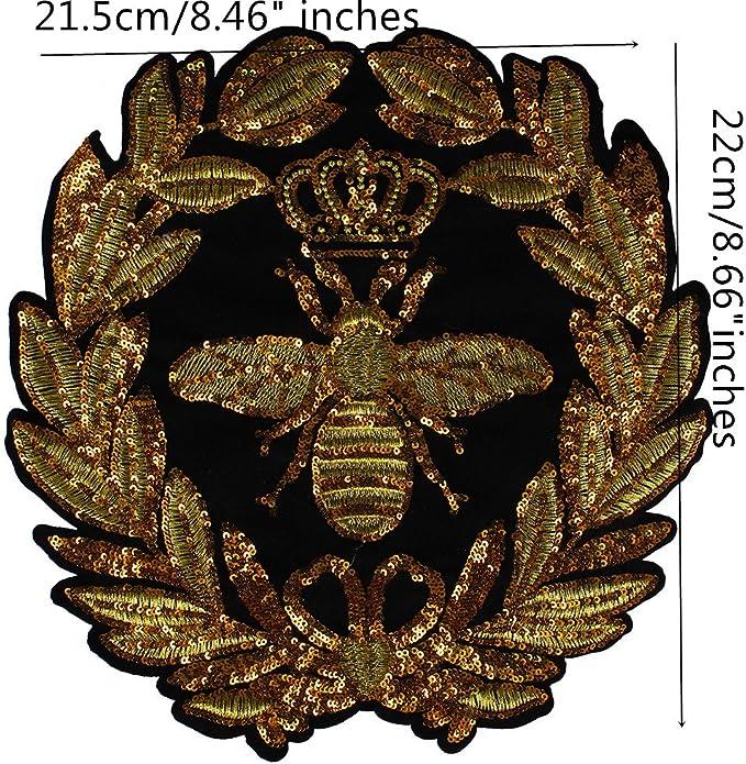 1 pieza de corona dorado Lentejuelas corona Bee parches bordado ...