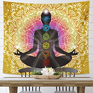 DESIHOM Gold Chakra Tapestry Wall Hanging Spiritual Tapestry Yoga Meditation Tapestry Mandala Pattern Tapestry Indian Tapestry for Living Room Bedroom Dorm 59x51 Inch