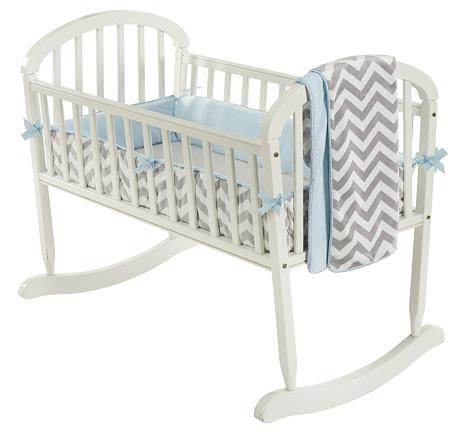 Baby Doll Bedding Minky Chevron Cradle Bedding Set, Blue 8700cr36