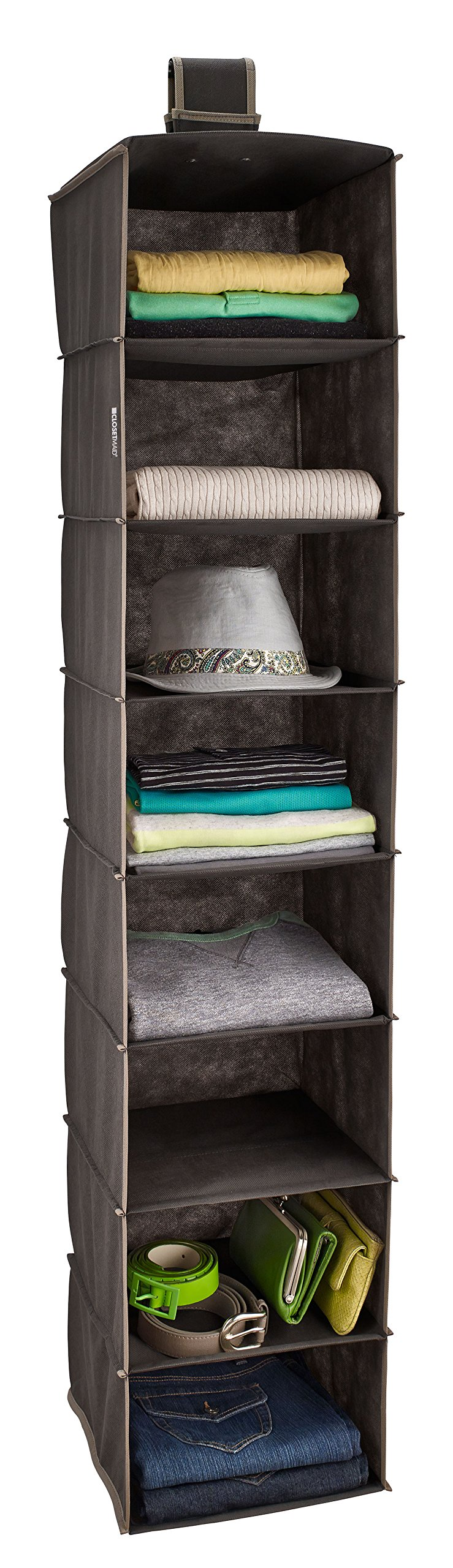 ClosetMaid 31454 8-Shelf Hanging Closet Organizer, Gray