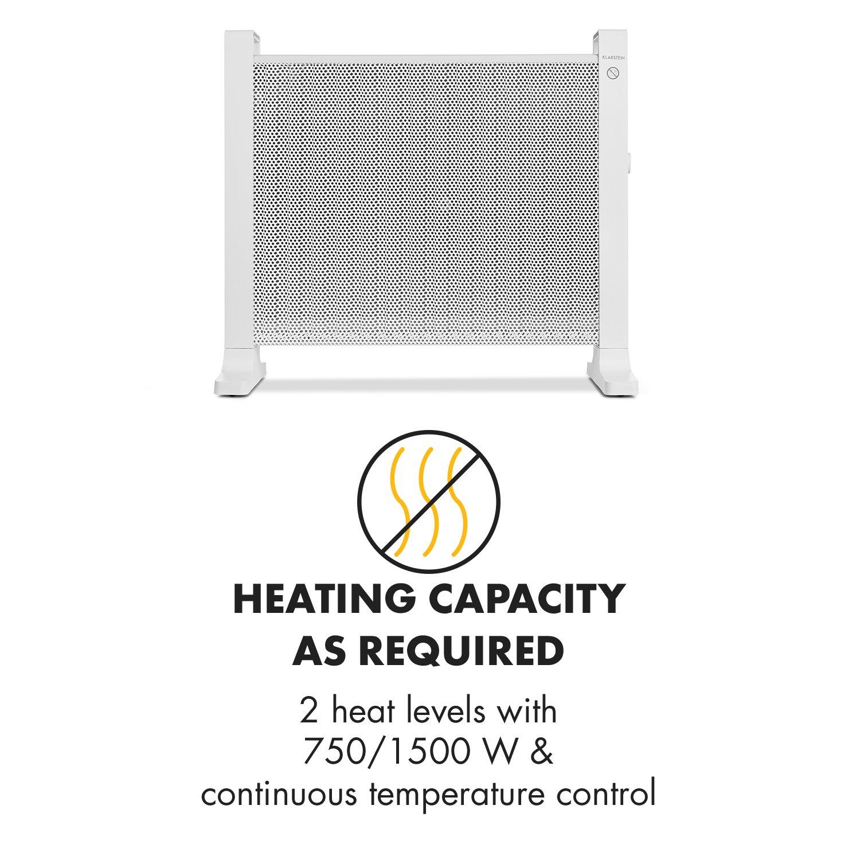 Klarstein HeatPalMica15 Calefacción eléctrica • Estufa Mica • 1500 W • 2 Niveles • Montaje en Pared • Baño • Silencioso • Temperatura Ajustable ...