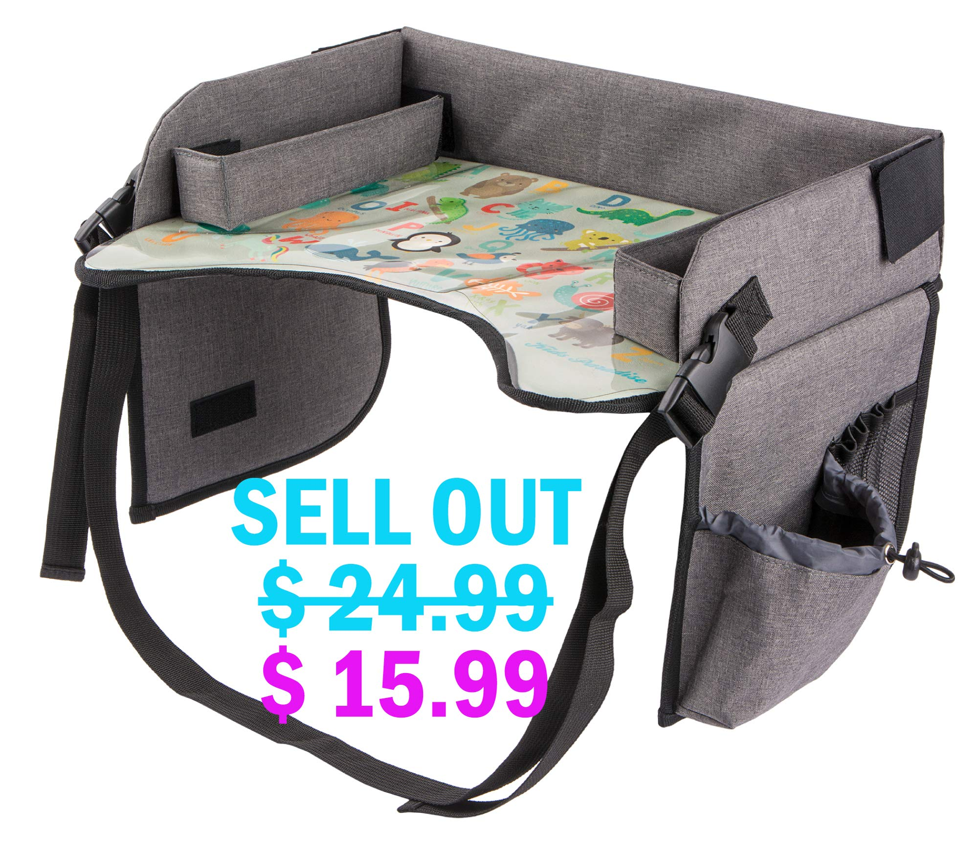 Kids Travel Tray with Erasable Surface for Car Seat, Stroller and Airplane Traveling, Infant and Toddler Snack and Play Tray, Lap Tray, Activity Tray, Table Tray with Mesh Organizer and Cup Holder by Kids Paradise
