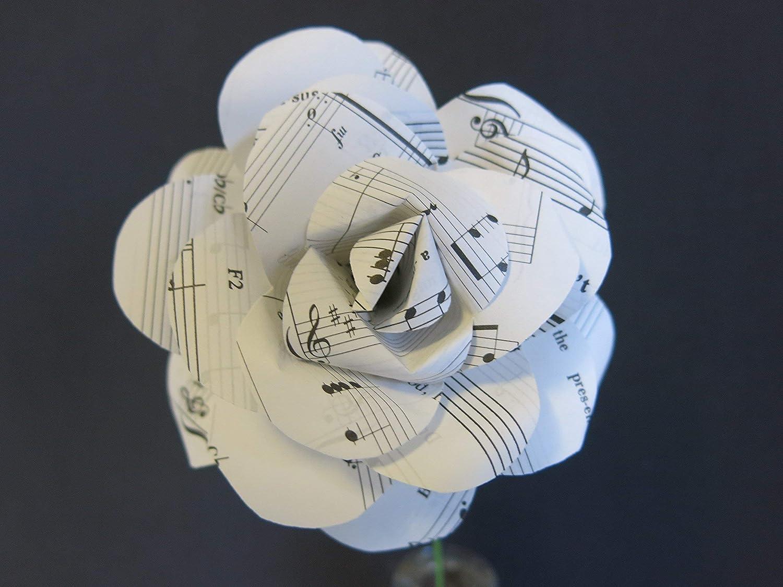 Vintage Sheet Music Paper Rose on Stem, Sculpted Flower, Black & White Large 4