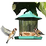 PetsN'all Gazebo Bird Feeder Transperant Hanging Wild Bird Feeder for Garden Back Deck Yard Hexagon Shaped with Roof Up to 2.25 lbs