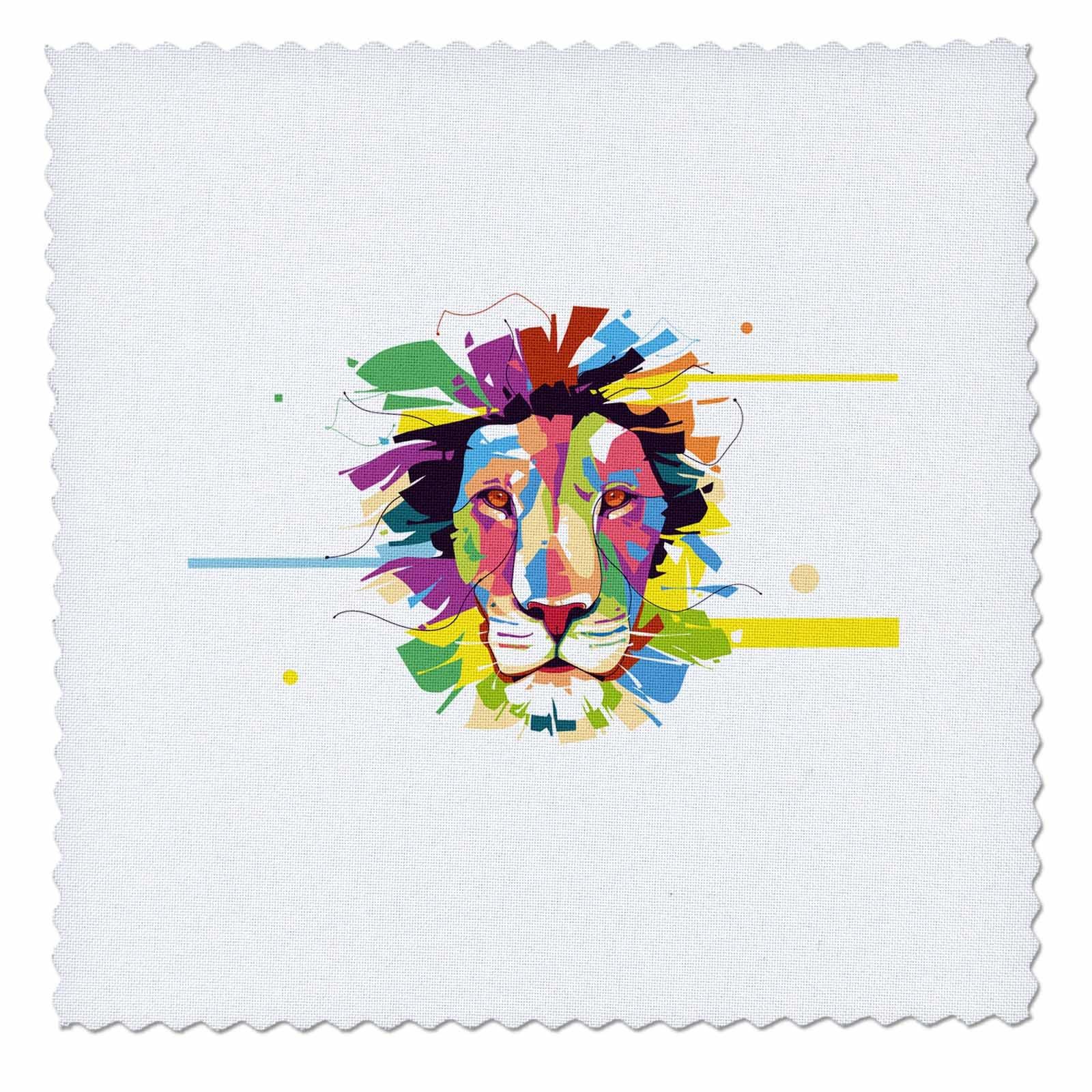 3dRose Sven Herkenrath Animal - Colorful Splash Design of Tiger Lion Head Portrait Wildlife - 14x14 inch quilt square (qs_280326_5)
