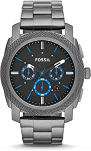 Fossil Machine Men's Black Dial Stainless Steel Analog Watch - FS4931