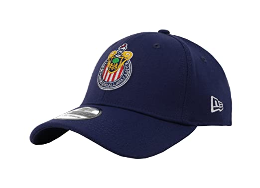 New Era 39Thirty Hat Chivas De Guadalajara Oficial Liga MX Soccer Flex Navy Blue Cap (