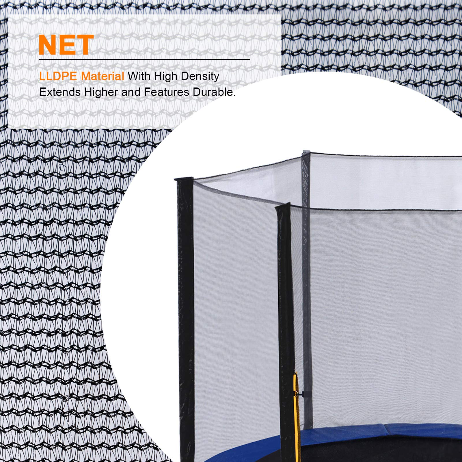 ExacMe Replacement Netting Outer Safety Net Without Poles for T-Series 10ft-16ft Trampoline-Net Only 6180 EN10T-EN16T (Fit Exacme T-Series 16ft) by Exacme (Image #2)