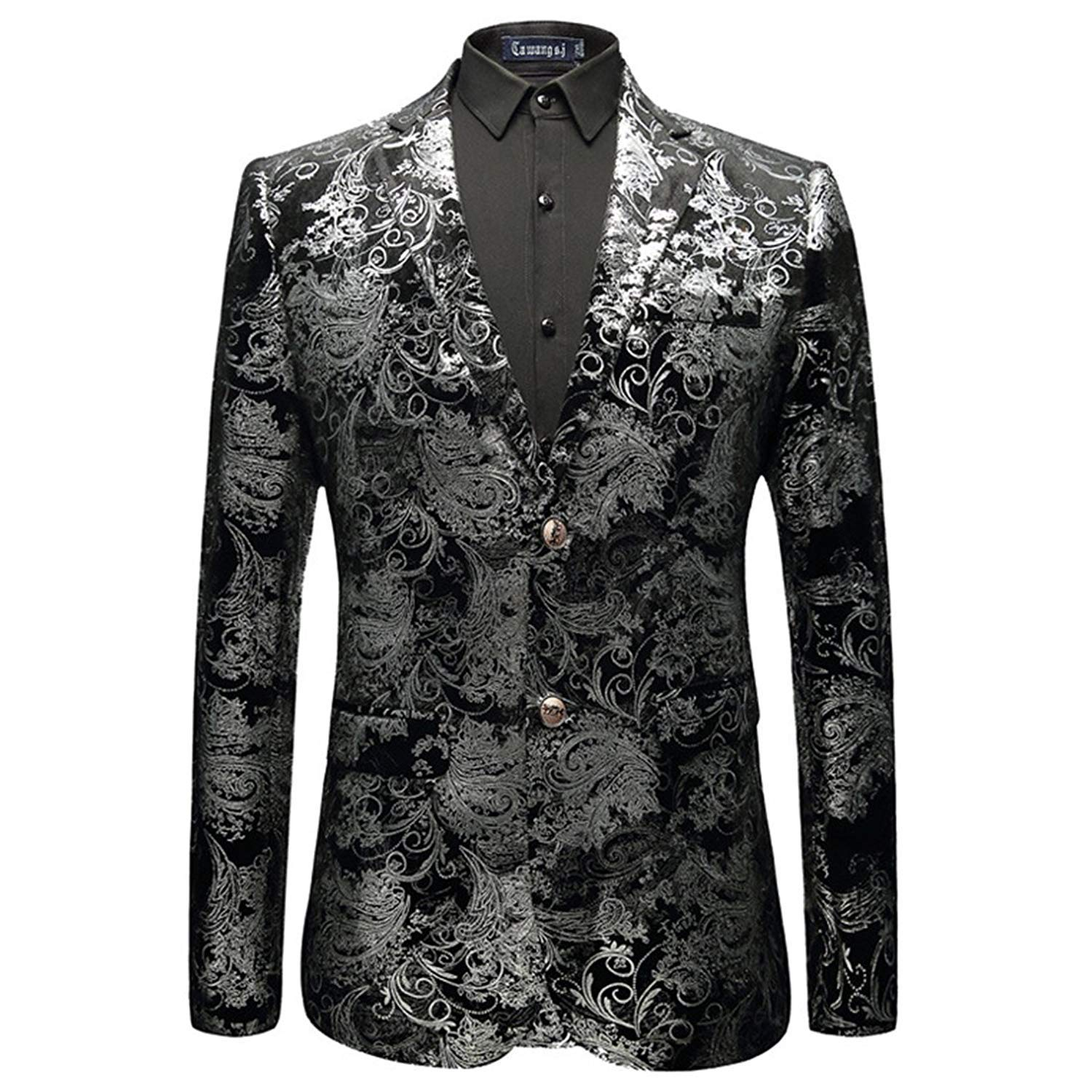 Huixin Mens Blazer Jacquard Bronzing Tuxedo Pleuche Suit Party Jacket Blazer Leisure Slim Fit Silver