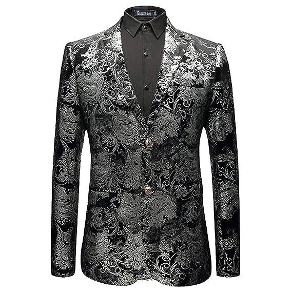 be92c7a1d14f Huixin Men's Blazer Jacquard Bronzing Tuxedo Pleuche Suit Party Jacket  Blazer Leisure Slim Fit Silver: Amazon.co.uk: Clothing