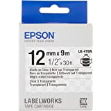 """Epson LabelWorks Clear LK (Replaces LC) Tape Cartridge ~1/2"""" Black on Clear (LK-4TBN) - for use with LabelWorks LW-300, LW-40"""