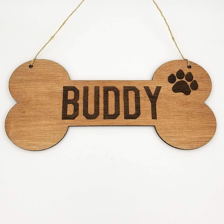 Personalized Dog Bone Dog House Wooden Sign Decor Custom Name with Paw