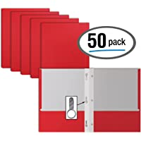 Red Paper 2 Pocket Folders with Prongs, 50 Pack, by Better Office Products, Matte Texture, Letter Size Paper Folders, 50 Pack, with 3 Metal Prong Fastener Clips, RED