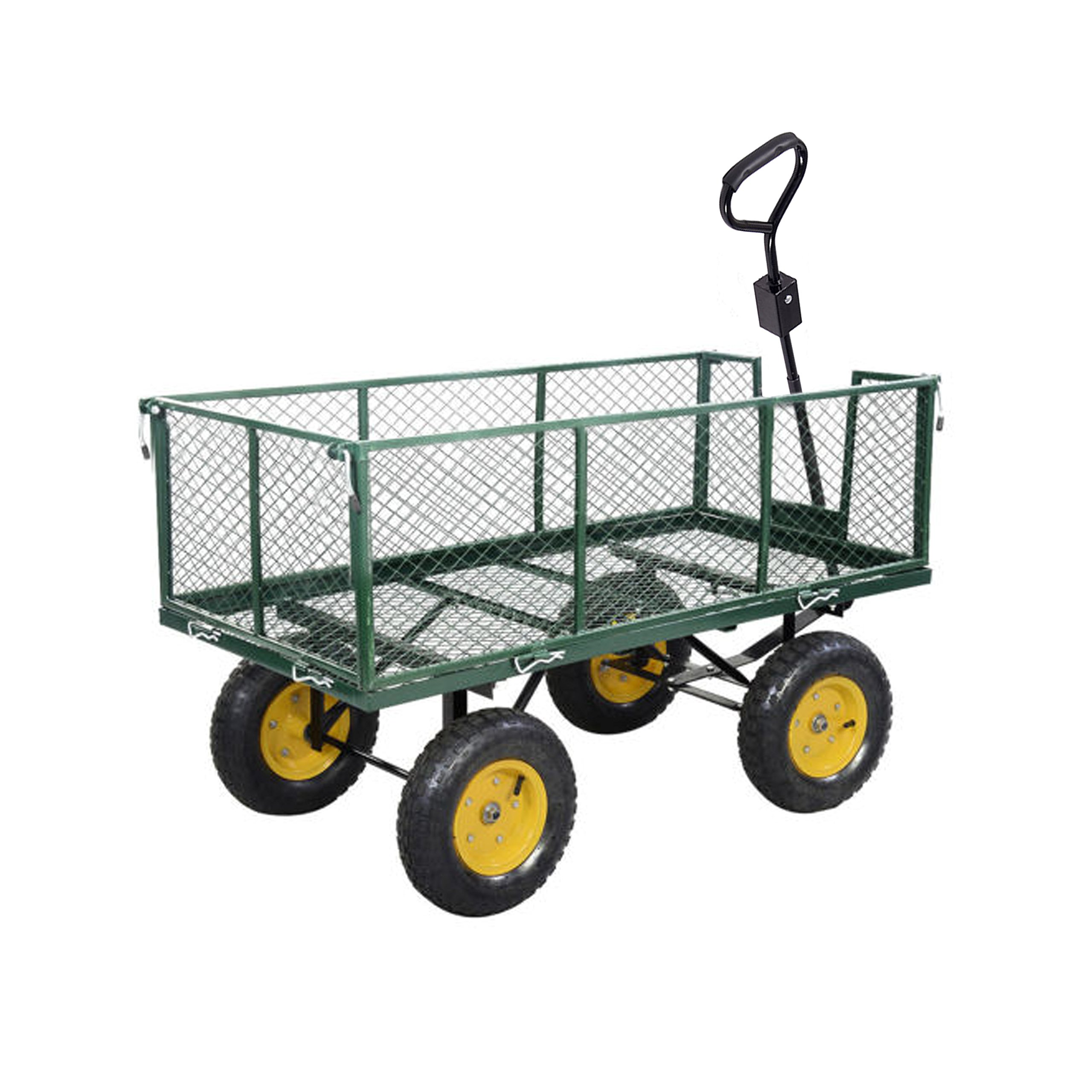 ALEKO TC4205B Farm and Ranch Heavy Duty Removable Steel Mesh Sides Flatbed Garden Mesh Cart With Padded Pull Handle, 1,000-Pound Capacity